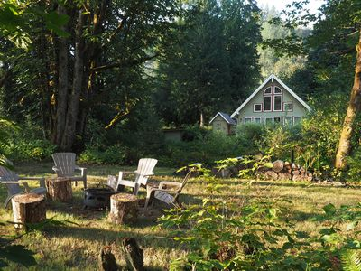 Photo for Galena's Getaway: spacious & bright Cascade mountain home on 3 gorgeous riverfront acres w/ hot tub