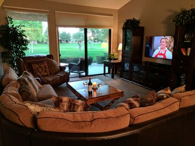 Comfortable living room with a view to the golf course