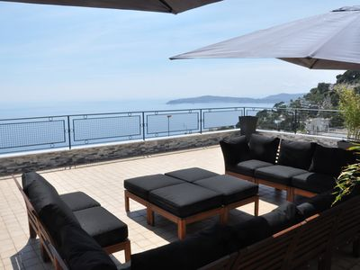 Photo for Villa SKYLINE Enjoy 360 ˚ panoramic view between the sea and the Alpes!