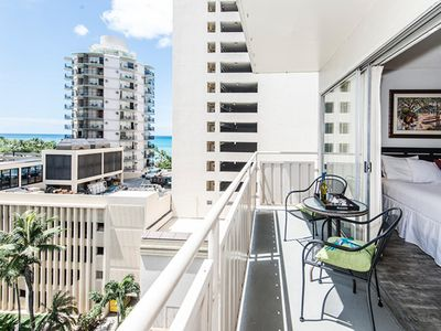 Photo for Cozy Waikiki Condo Steps to Beaches, Private Lanai and Partial Ocean Views