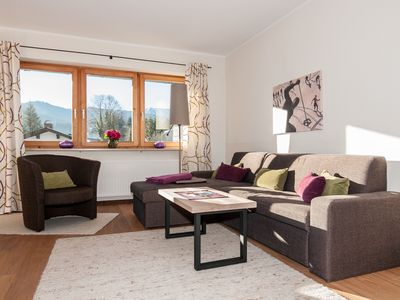 Photo for Bright Holiday Apartment Wiesbauer close to Lake Tegernsee with Mountain View, Wi-Fi, Balcony & Terrace; Parking Available
