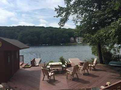 Photo for Lrge Grps, Reunions, Lake Front, 2 Houses, 2 ht tbs, Pool tbl, wifi, cbl, docks
