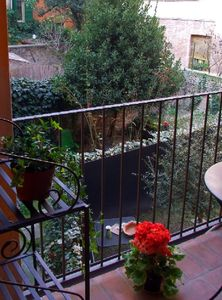 The garden. Casa Arienti is in the heart of the historical center of Bologna.
