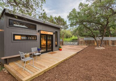 Native water-wise landscaping is one of the many green features of this home