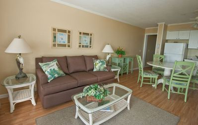 Ocean Dunes 405 - Living Room - Come to your happy place on Hilton Head and enjoy this comfy two bedroom oceanfront villa.  Relax at the beach.