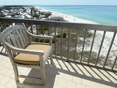 Photo for Gulf front bliss, quiet end of PCB/Hwy 30A,  Ocean+Lake Front balconies NEW A/C