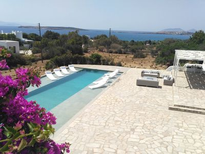 Photo for Stylish seaside private villa with pool, 1min from Mikri Santa sandy beach!