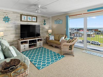 Photo for Bay Views From This 2 Bedroom Condo with Outdoor Pool, Steps to the Boardwalk and Beach!