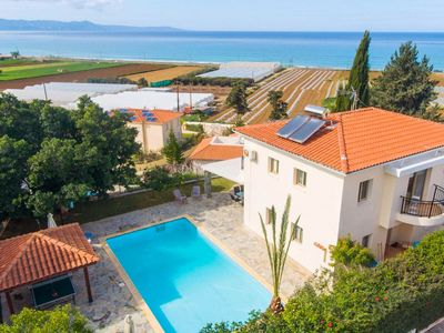 Photo for Villa Argaka Sunset: Large Private Pool, Walk to Beach, Sea Views, A/C, WiFi, Eco-Friendly