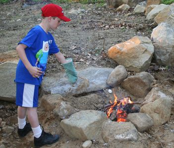 roasting marshmallows at the fire pit