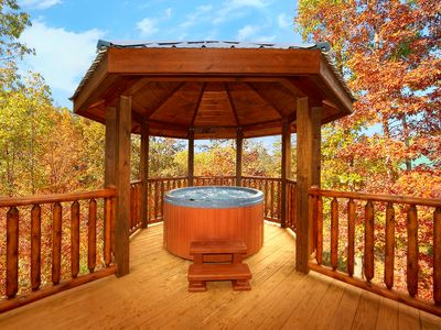Photo for Romantic cabin with Gazebo Hot Tub - Arts and Crafts Community!