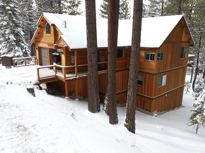 Photo for Luxury Mountain Tahoe home on the edge of forest close to everything! Hot Tub!