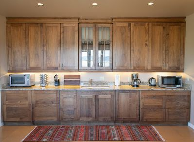 Kitchenette is well equipped and provisioned with stables and breakfast fixin's.