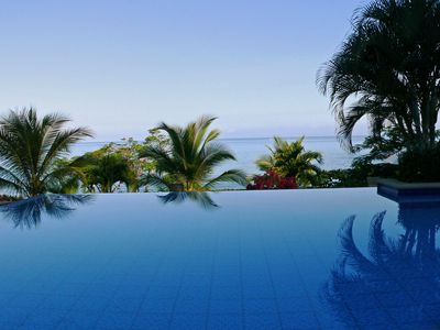 The infinity pool right next to the Flying H Villa.  A beautiful morning view.