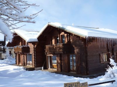 """Photo for """"Les Heureux"""" Real wooden chalet with large living room and 6 bedrooms 13 beds"""