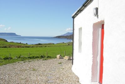 Front of cottage with view to Eigg