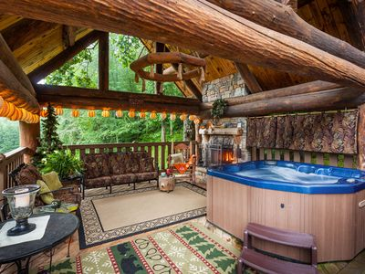 Photo for Yogi's Hideaway -Stunning Cabin With Private Tennis Court, Basketball, Hiking