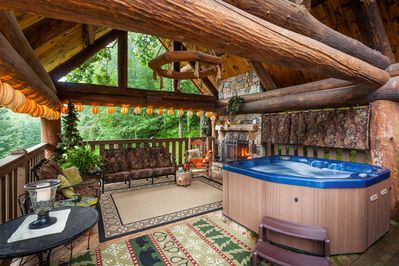 Stunning Outdoor Living Room with Hot Tub & Wood Burning Fireplace
