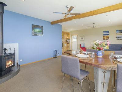 Blue Cottage Bruny Island fabulous water views, log fire, pub meals.