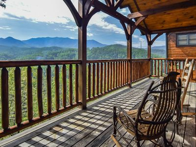Photo for Cozy Cabin w Scenic Mtn View, Hot Tub & Game Room for 8ppl