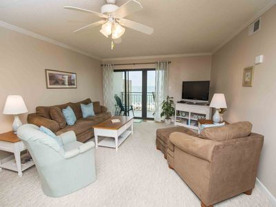 Photo for Beach Condo with Private Balcony Overlooking the Beach! Beachfront Pool and Onsite Tennis Courts