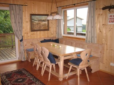 Our rustic, typical Austrian dining area for 8 people. All furniture is handmade