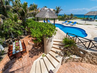 Photo for 4 Bedroom oceanfront home centrally located in Akumal. Pool, AC, Wifi, Cook.