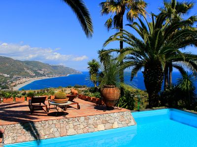 Photo for PANORAMIC APARTMENT with Pool + Sea View Terrace Taormina