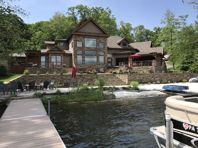 Photo for Luxury Timber Frame Lake House With A Beach, Hot Tub, Gourmet Kitchen, Fire Pit