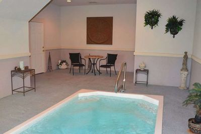 Private indoor pool located in cabin for guests to use.  Half bathroom and stack washer/dryer on this level.