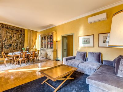 Photo for Elegant,bright 4bedroom apartment with exclusive views of Piazza di Spagna and never banal details.