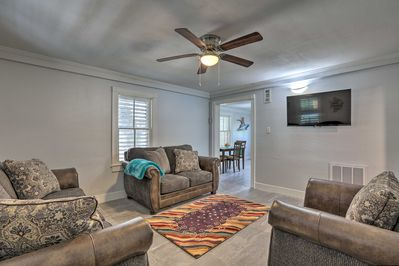 Welcome yourself into this home-away-from-home with plush sofas!