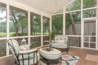 Large screened porch with golf views