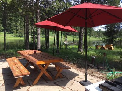 Outdoor patio and picnic table.