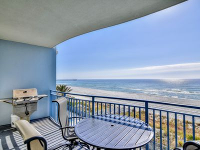 Photo for Water views in spacious upper level 1BR condo - free beach service seasonally!