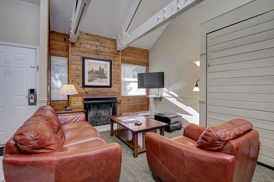 living room, TV, fireplace ,murphy bed if needed
