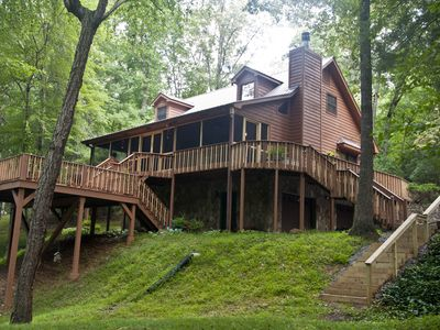 Photo for River House  3 bedroom 3 bath upscale cabin on large creek with nice yard.