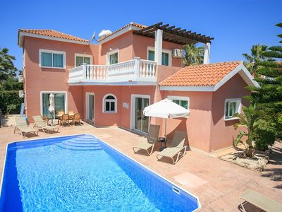 Photo for Villa Zenon: Large Private Pool, Walk to Beach, Sea Views, A/C, WiFi, Car Not Required