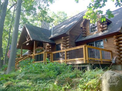 Photo for Beautiful Log Home With Private Beach On Cedar Lake - Sleeps 12, Pet Friendly