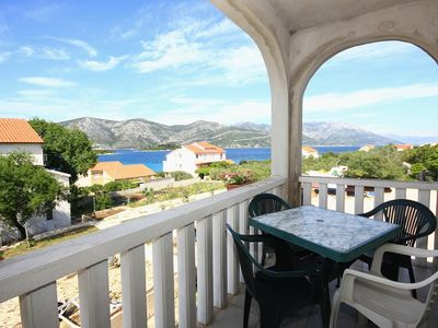 Photo for Two bedroom apartment with terrace and sea view Kneža (Korčula) (A-4342-a)