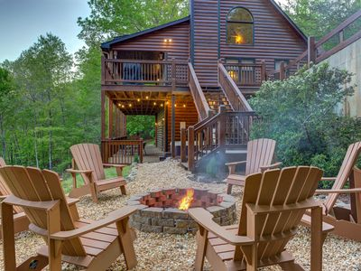 Photo for Beautiful mountainside cabin w/ hot tub, pool table, 3 decks & great views!