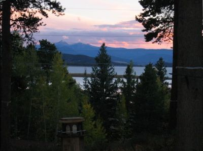 Sunset View from Cabin of Lake Granby & Continental Divide