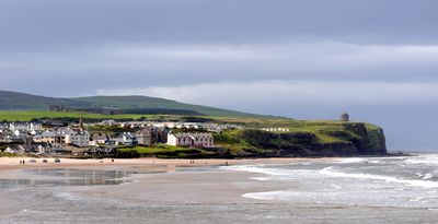 Stunning Castlerock Beach with Downhill Castle & Mussenden Temple on the cliffs.