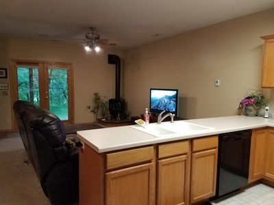 Lower level kitchen and family room