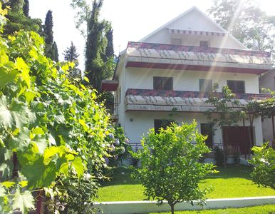 Front of the villa surrounded by garden and trees