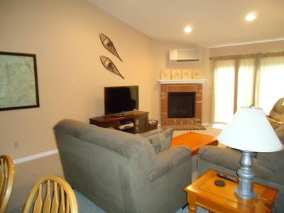 Living Room - 46 inch Flat Screen, Gas Fireplace and Central AC