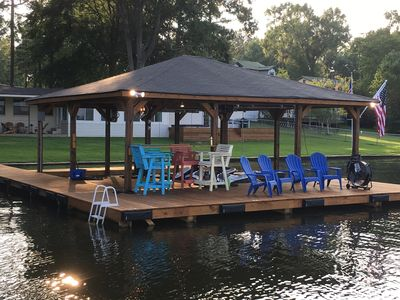Plenty of seating and commercial grade fan on dock for your comfort!