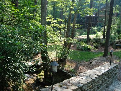 Photo for Enchanting Upscale Log Cabin, TWO large waterfalls, 6 private acres, 4 streams