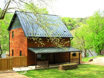 Photo for Riverfront*** Cabin with Hot Tub on French Broad River
