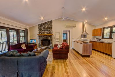 Combined lounge/dining/kitchen area of our large 3 bedroom cottage.